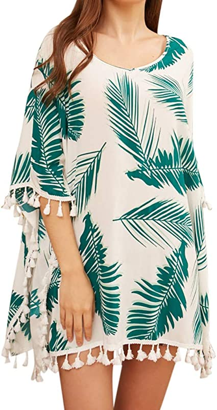 Amazon Com Womens Kaftan Cover Up Plus Size Tropical Palm Print Loose Midi Dress Tassel Hem Flowing Bathing Suit Cover Ups 2019 Summer Casual Beach Party Swimsuit Coverups Arts Crafts Sewing