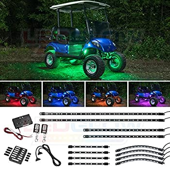 Image of Accessory Light Kits LEDGlow 12pc Million Color LED Golf Cart Underglow Accent Neon Lighting Kit with Wheel Well & Interior Lights for EZGO Yamaha Club Car - Fits Electric & Gas Golf Carts - Water Resistant