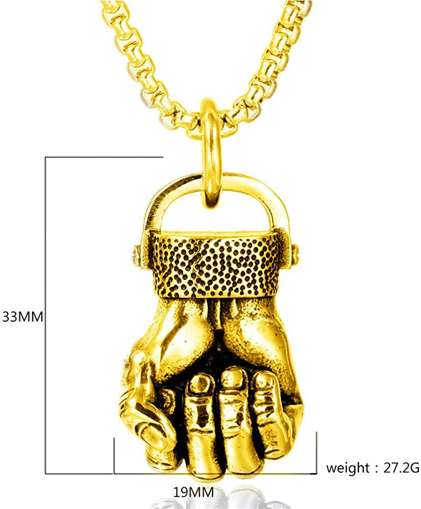Men Punk Rock Stainless Steel Hand Gesture Pendant Necklace Chain Rapper Jewelry