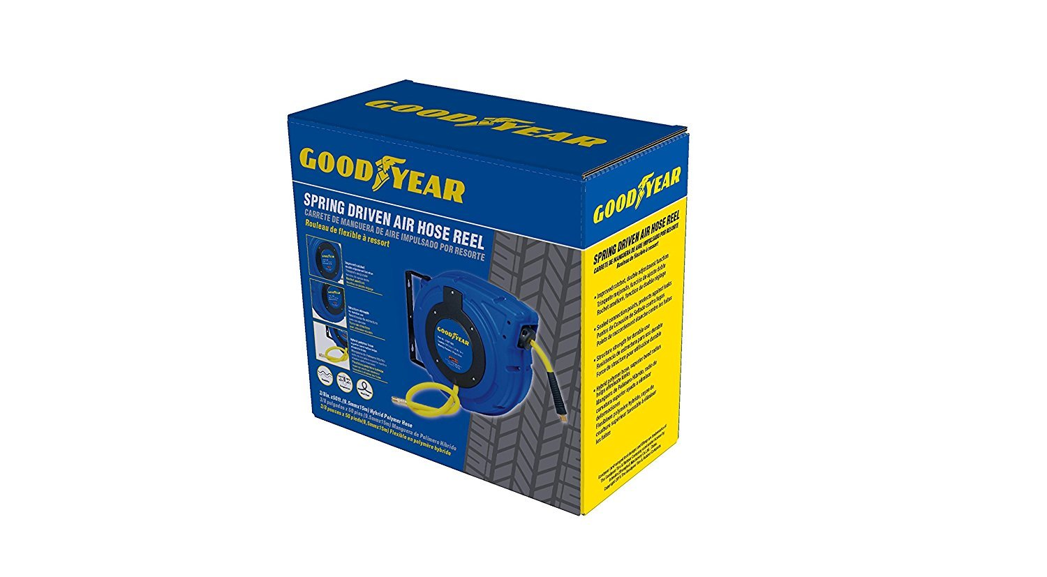 Goodyear 27527153G Enclosed Retractable Air Compressor/Water Hose Reel with 3/8 in. x 50 ft. Hybrid Polymer Hose, Max. 300PSI by Goodyear (Image #7)