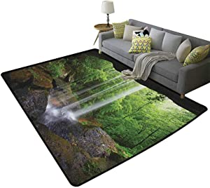 Natural Cave Baby Decor Modern Rug Still Waterfall in The Forest in Northern Alabama Habitat Ecosystem SceneryBaby Rooms Silky Smooth Fuzzy Kids Play Mats Green Brown 71 x 82 Inch