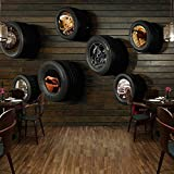 Mznm Mural Wallpaper European Style Retro Automobile Tires Wood Grain Wall Painting Living Room Cafe Restaurant Wallpaper 3D-200X140Cm