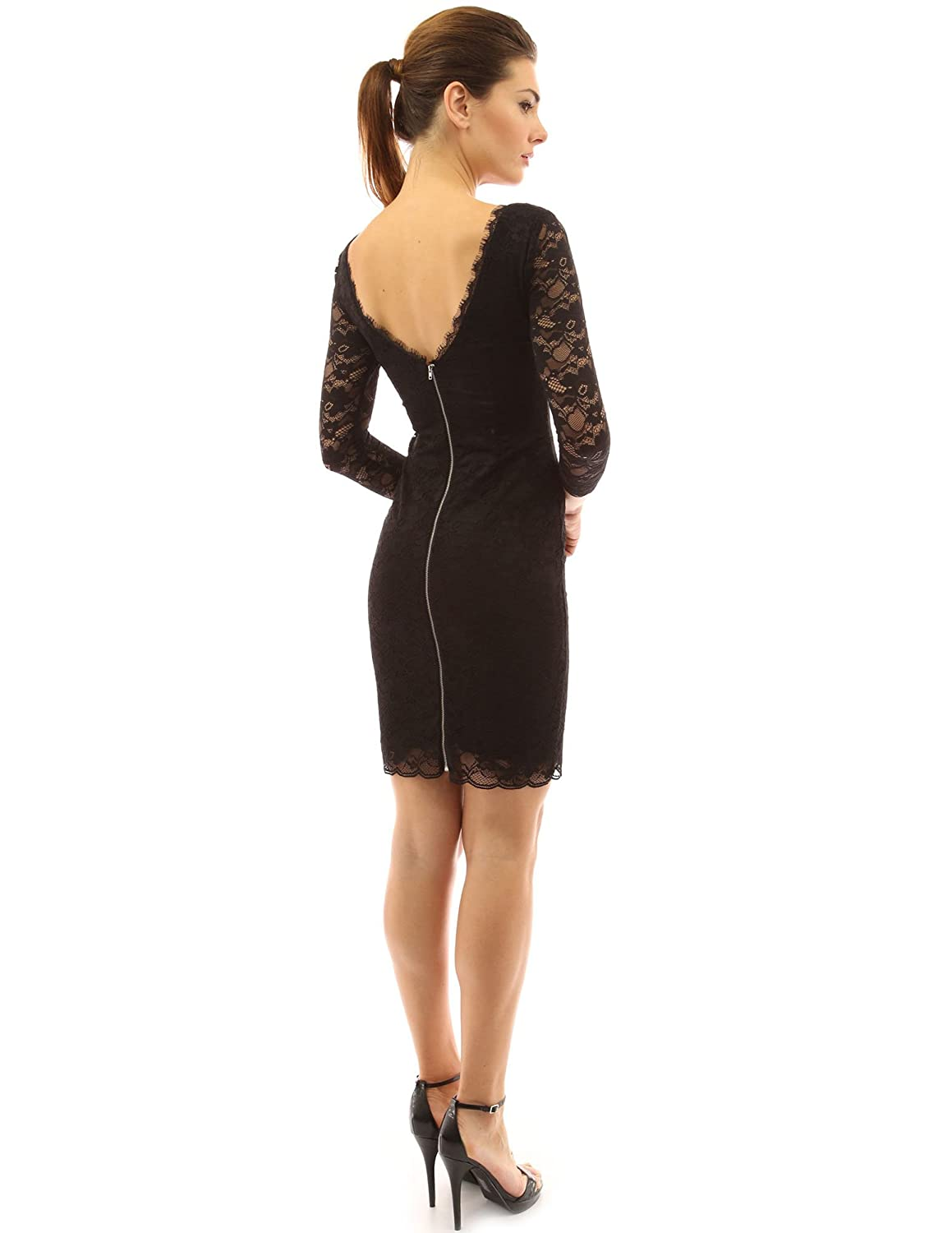 49d770c50bae4 PattyBoutik Women s Square Neck 3 4 Sleeve Zip Back Lace Sheath Dress