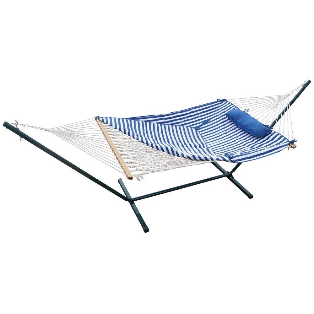 Prime Garden 12FT. 4-Piece Heritage Hammock Essential Package, Accommodate 1 person, 100% Cotton Rope, Polyester Pad And Pillow Combo,Green Coated Steel Frame,Rust Resistant, Weight limit 275 lb