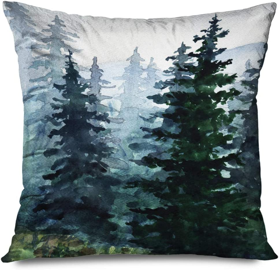TETUDA Throw Pillow Cover Square 16x16 Inches Sketch Watercolor Pine Blue Sky Winter Forest Travel Artistic Mountains Nature Fir Pattern Drawing Decorative Cushion Case Home Decor Zippered Pillowcase