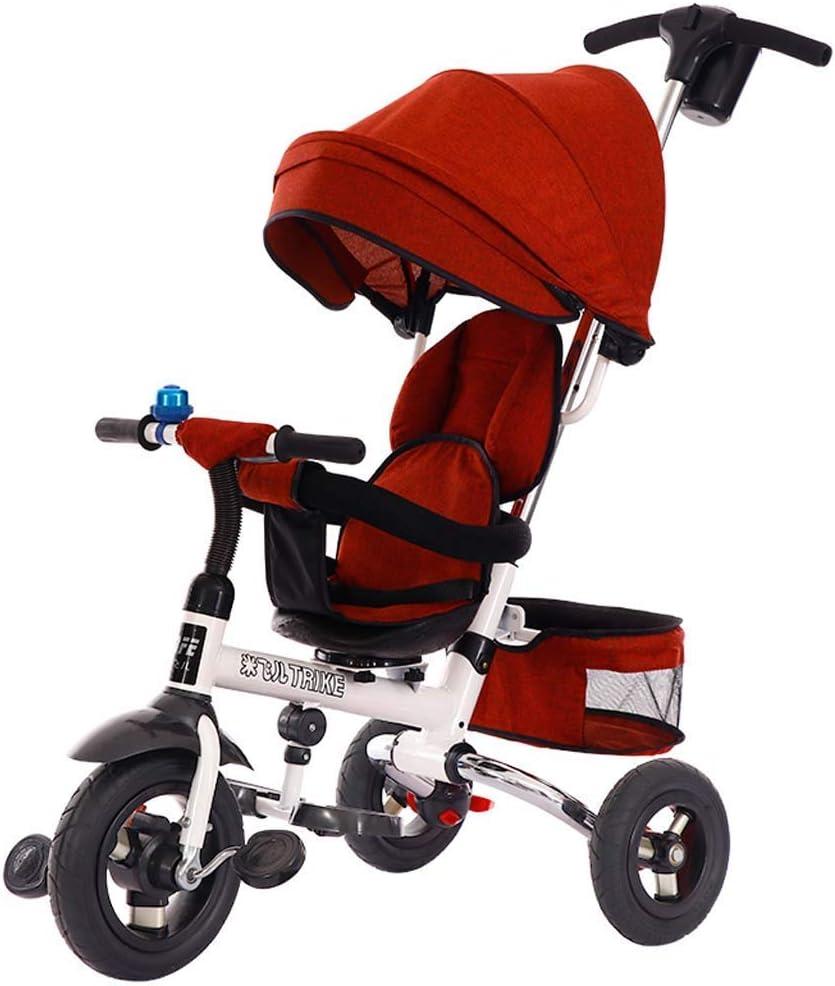 Carrito Triciclo para Niños Cochecito Ligero Plegable para 1-5 Años (Color: Rojo De Lino)
