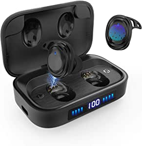 Wireless Earbuds Bluetooth 5.0 Headphones, IPX7 Waterproof Sport Earbuds, Touch Control, 75 Hrs Playtime/ 2000 mAh LED Display Charging Case[As Power Bank], HD Stereo Built-in Mic in-Ear Earphones