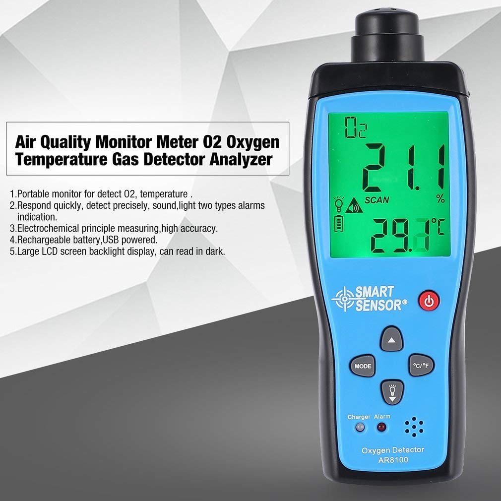 Air Quality Monitor Meter O2 Oxygen Temperature Gas Detector Analyzer Tester(Color:Blue & Black)(Size:1000mAh) ShepoIseven