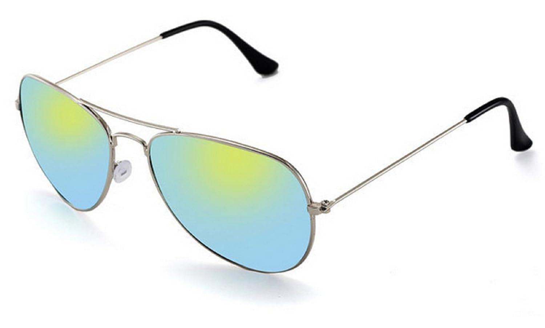 ( marcos plateada - lente verde ) gafas de sol para hombre mujer unisex modelo aviador espejo gota clásico