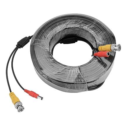 sourcing map Cable para cámara IP CCTV 40 Metro ETHERNET LAN/BNC + Conector DC
