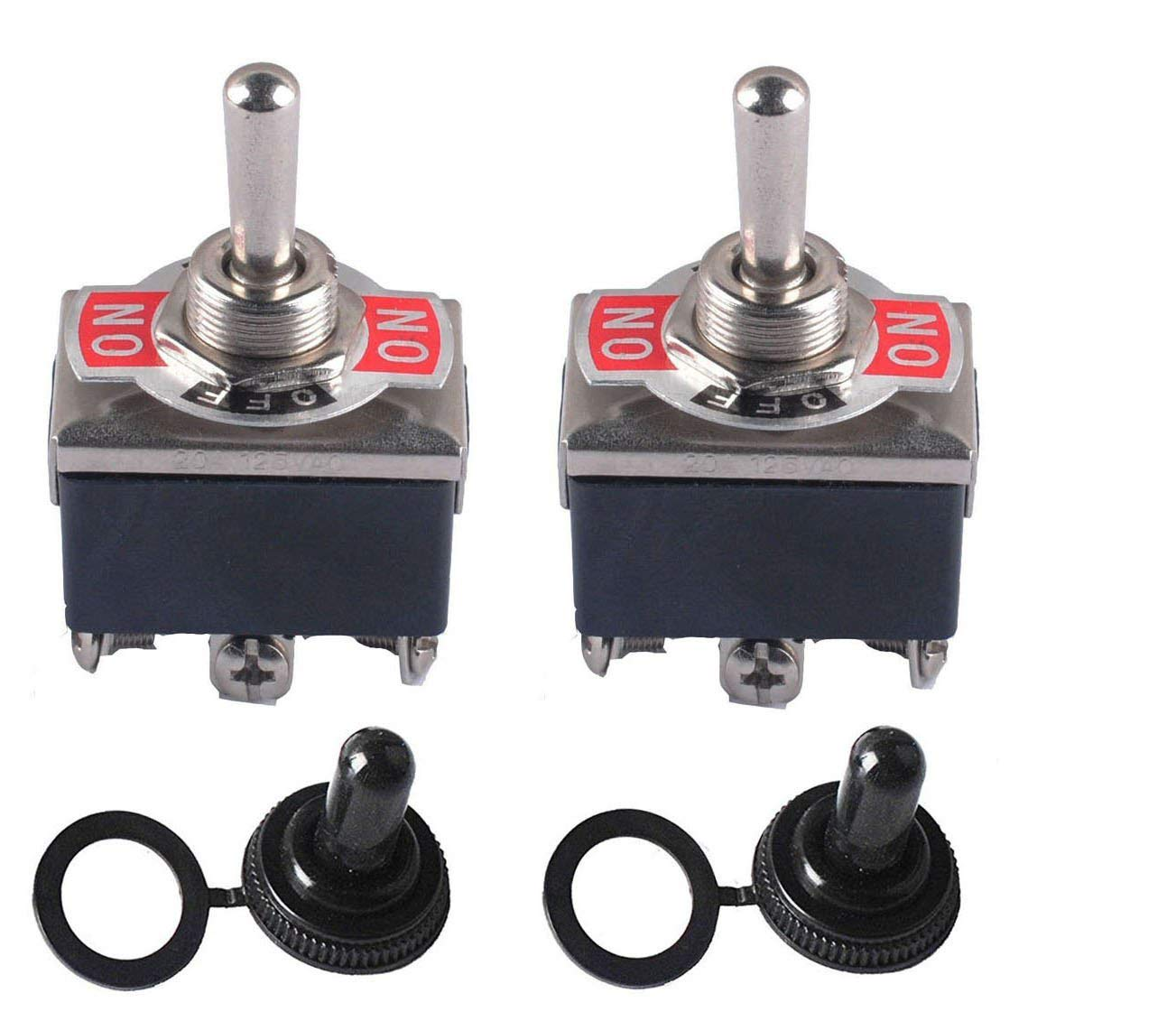 Podoy Heavy Duty Toggle Switch On-Off-On DPDT 6 Pin 15A 250VAC / 20A 125VAC with Waterproof Boot Cover (2 Set)