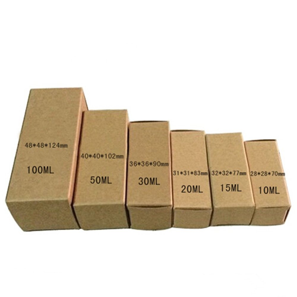Multiply Capacity Cardboard Recycled Essential Oil Bottle Boxes Folding Cosmetic Make-Up Toiletry Storage Box Kraft Paper Lipstick Creme Bottle Eco-Friendly Basket (4.8x4.8x12.4 cm--100 ML, 250 pcs)