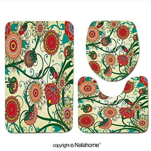 3 Piece Bath Rug Set Nalahome design-87445739 Beautiful floral vintage wallpaper Bathroom Rug(15.7