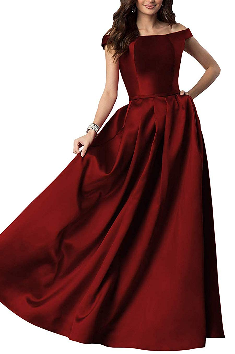 Burgundy Women's OffTheShoulder Satin Long Gown Prom Dress Evening Dresses with Pockets