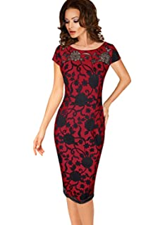 15b0d4a011744 Women Vintage Midi Bodycon Dress Lace Stitching Business Evening ...