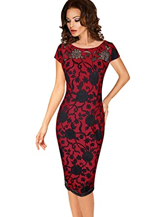 Vfemage Womens Floral Embroidered Cocktail Party Bodycon Sheath