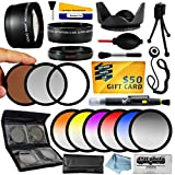 25 Piece Advanced Lens Package For The Canon EOS Rebel T5I T4I SL1 T5 1100D 1000D T3 T3i 60D 600D 650D 7D 350D XS i XT XTI XS T2i, T1i, 50D, 40D, 30D, 20D, 6D, 5D, 1D, Kiss X5, Kiss X4, Kiss X6i, kISS X7i & 550D (Canon EF-S 18-55mm & EF-S 55-250mm Lenses) Includes 58MM 0.43X HD2 Wide Angle Panoramic Macro Fisheye Lens + 58MM 2.2x HD AF Telephoto Lens + 58MM 3 Piece Pro Filter Kit (UV, CPL, FLD) + 58MM 6 Piece Multi-Colored Graduated Filter Set + 58MM 5 PC Close-Up Set (+1, +2,+4 with 10X Macro