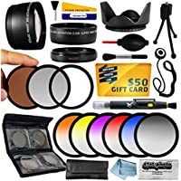 25 Piece Advanced Lens Package For The Nikon D100 D200 D300 D300S D700 D7000 D7100 D3000 D3100 D3200 D5000 D5100 D5200 D5300 D40 D40X D50 D60 D70 D90 D80 Includes 0.43X HD2 Wide Angle Panoramic Macro Fisheye Lens + 2.2x HD AF Telephoto Lens + 3 Piece Pro Filter Kit (UV, CPL, FLD) + 6 Piece Multi-Colored Graduated Filter Set + 5 PC Close-Up Set (+1, +2,+4 with 10X Macro Lens) + Flower Lens Hood + Deluxe Lens Cleaning Kit + 5PC Lens Cleaning Pen + Snap On Lens Cap + Air Blower Cleaner + Lens Cap