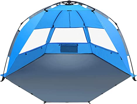 TAGVO Pop Up Beach Tent Sun Shelter with Front Door Easy Set Up Tear Down, Portable Lightweight Beach Baby Canopy, UPF 50+ Sun Protection Mesh Screen