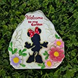 """8 Inch Disney Minnie Mouse """"Welcome to my Garden"""" Garden Rock For Sale"""