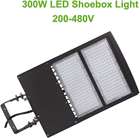 480Volt 300W LED Parking Lot Light Direct Arms Mount Replace 1000W MH Shoebox