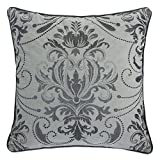 Homey Cozy Luxury Embroidery Velvet Throw Pillow Cover,Gray Series Antique Floral Soft Fuzzy Cozy Warm Slik Decorative Square Couch Cushion Pillow Case 20 x 20 Inch, Cover Only