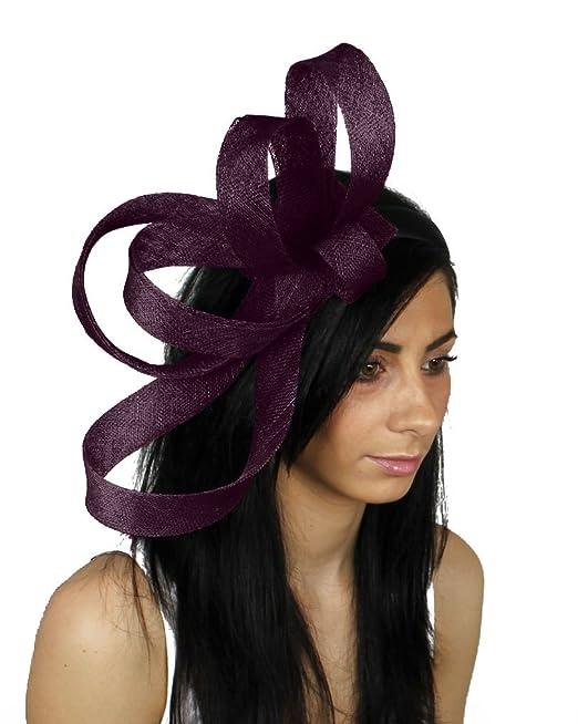 17ec69e06a289 Kate Ascot Fascinator Hat With Headband - Aubergine  Amazon.co.uk  Beauty