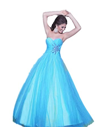 P02 BLUE SIZE 12 BEADING Evening Dresses party full length prom gown ball dress robe (