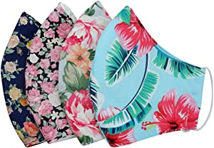 Flower Garden Pack 4 Dust Face Protections - Reusable & Washable Cotton Comfy Breathable Material - for Outdoor Half Face Protections