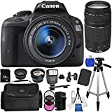 Canon EOS Rebel SL1/100D DSLR Camera with EF-S 18-55mm f/3.5-5.6 IS STM Lens & EF 75-300mm f/4.0-5.6 III Autofocus Lens. Includes Wide Angle & Telephoto Lenses, 3 Piece Filter Kit (UV/CPL/FLD), 16GB Memory Card, Tripod, Case & More