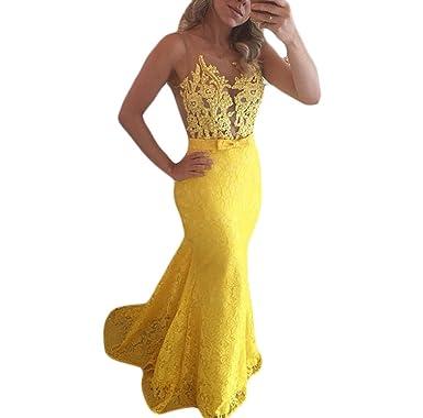 Bainjinbai Gelb Lange Applikation Spitze Damen Abend BrautjungfernKleider  Formal Kleider Party Kleider Yellow UK06