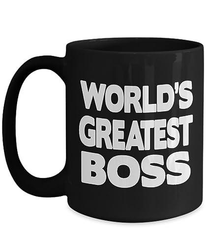 Amazoncom Worlds Greatest Boss Mug Funny Office Gift Black