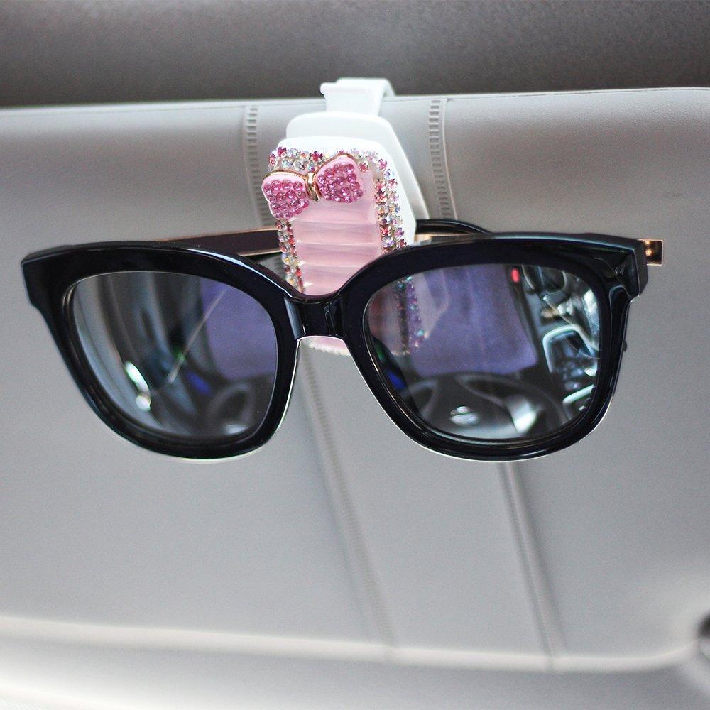 Mini-Factory Car Visor Sunglasses Clip Holder Bling Pink Crystal Diamond Glasses Accessories for Girls /& Women