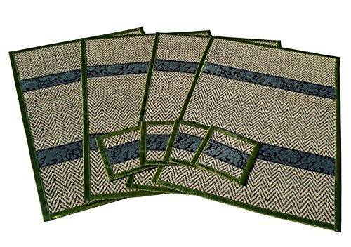 Thai Elephant Pattern Handmade Dinner Reed Placemats and Coaster Set of 4.