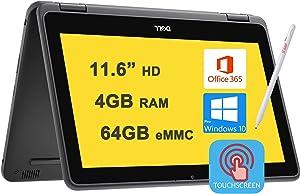 "Dell 2021 Flagship Latitude 3190 Business 11 2-in-1 Laptop 11.6"" HD Toucscreen Intel 4-Core Celeron N4120 4GB RAM 64GB eMMC WIFI5 Webcam office365 Win10Pro Black + iCarp Pen"