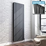 iBathUK | 1800 x 608 Vertical Column Designer Radiator Anthracite Double Flat Panel