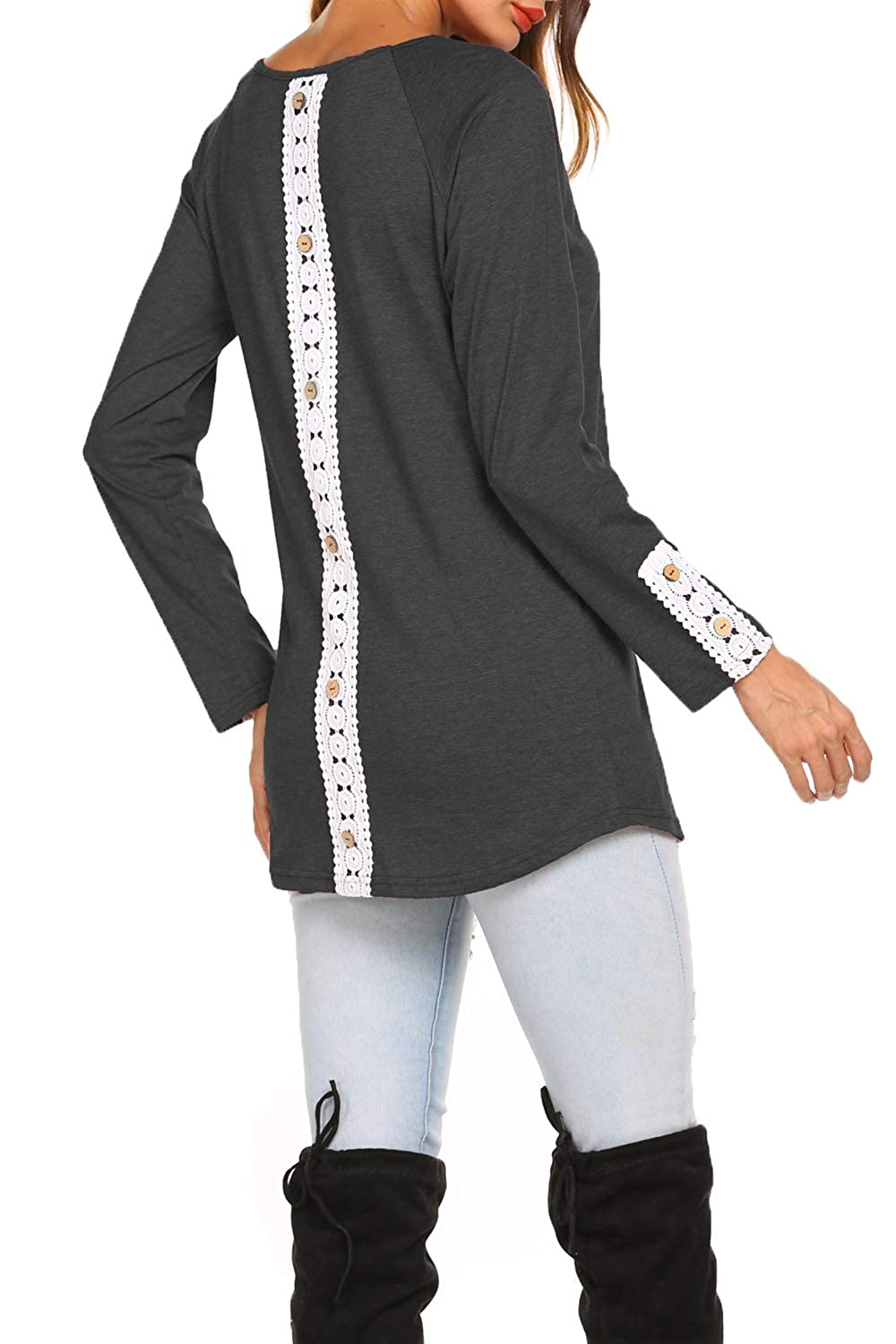 e1418bb6707 Round Neck solid long sleeve blouses with back Buttons lace Inset  design,soft and gorgeous. Four colors are available:Black,Navy Blue,Wine  Red and ...