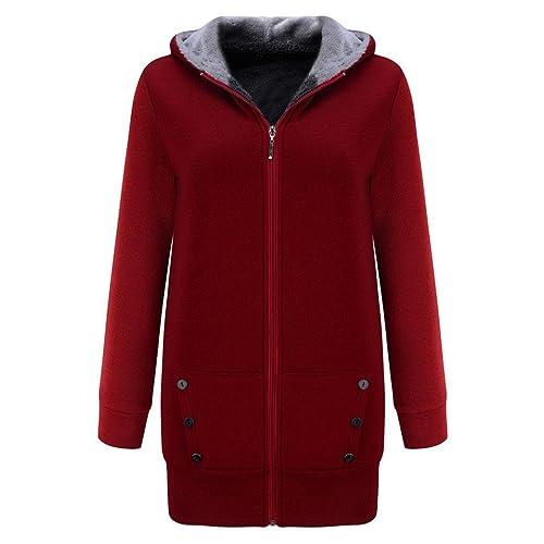 OverDose abrigos de mujer elegantes chaqueta larga con capucha más gruesa