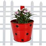 TrustBasket Single Pot Railing Planter - Red