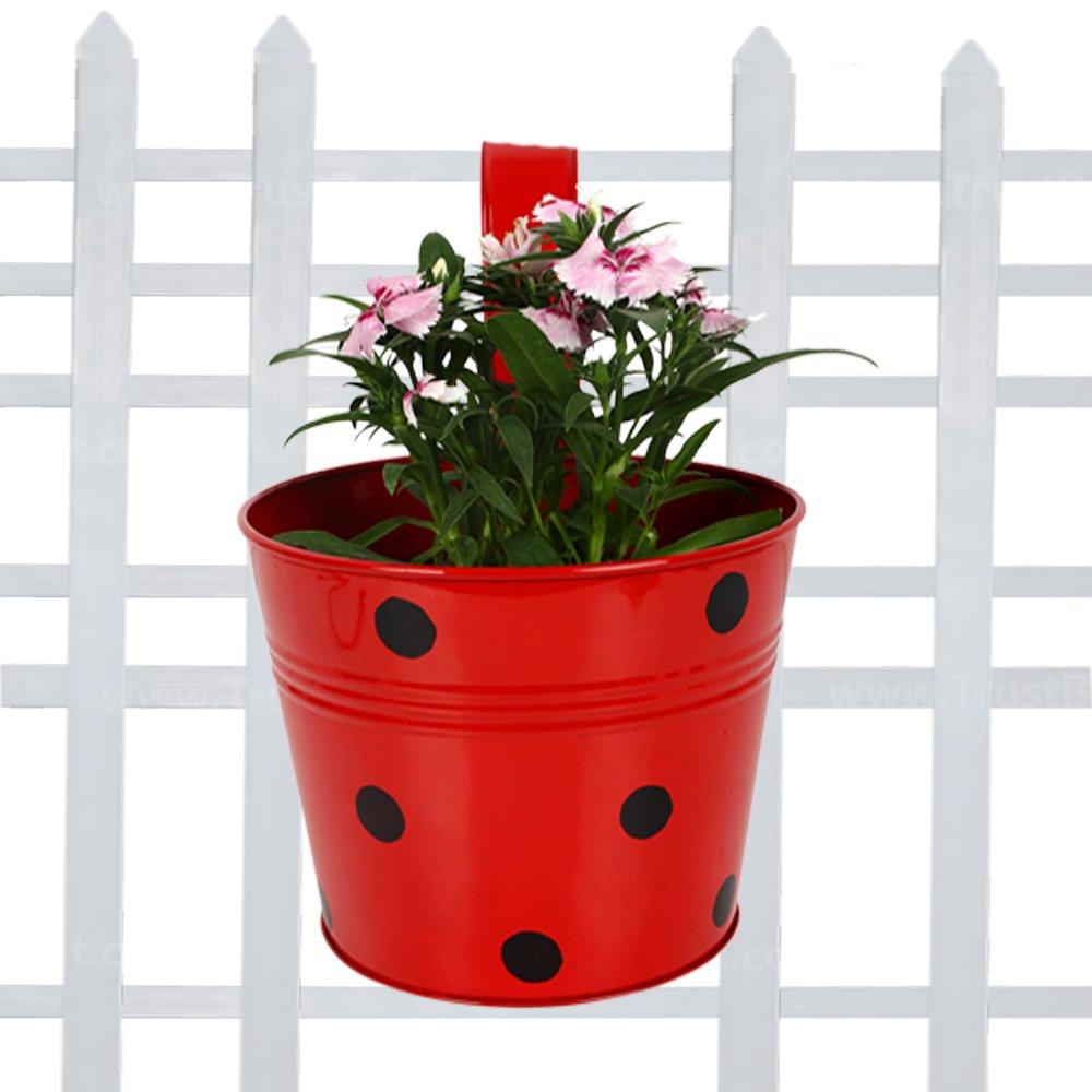 Trust Basket Single Pot Railing Planter - Red product image