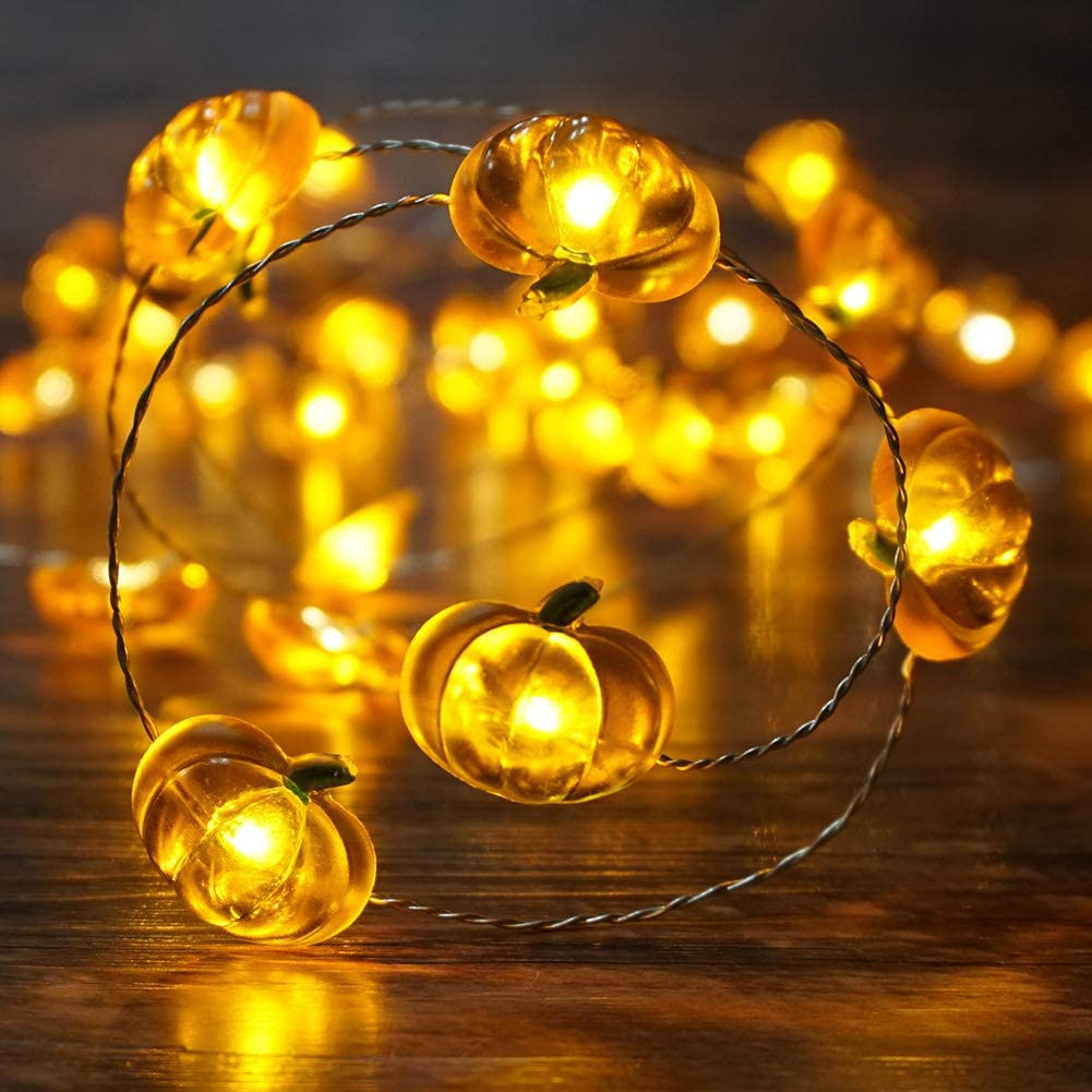 BOHON Pumpkin String Lights 10ft 40 LEDs Halloween Lights Battery Powered with Remote & Timer Decorative Lights for Thanksgiving Autumn Party Indoor Fall Outdoor Halloween Decor