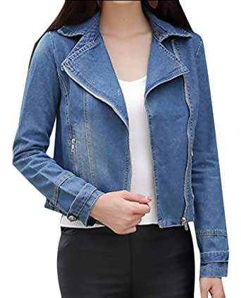 Tootless Women Long Sleeve Slim Fit Zip Up Stylish Denim Jackets At