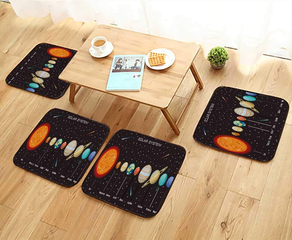 UHOO2018 Simple Modern Chair Cushions Planets Vector Set on Background Our Solar System Reusable Water wash W27.5 x L27.5/4PCS Set