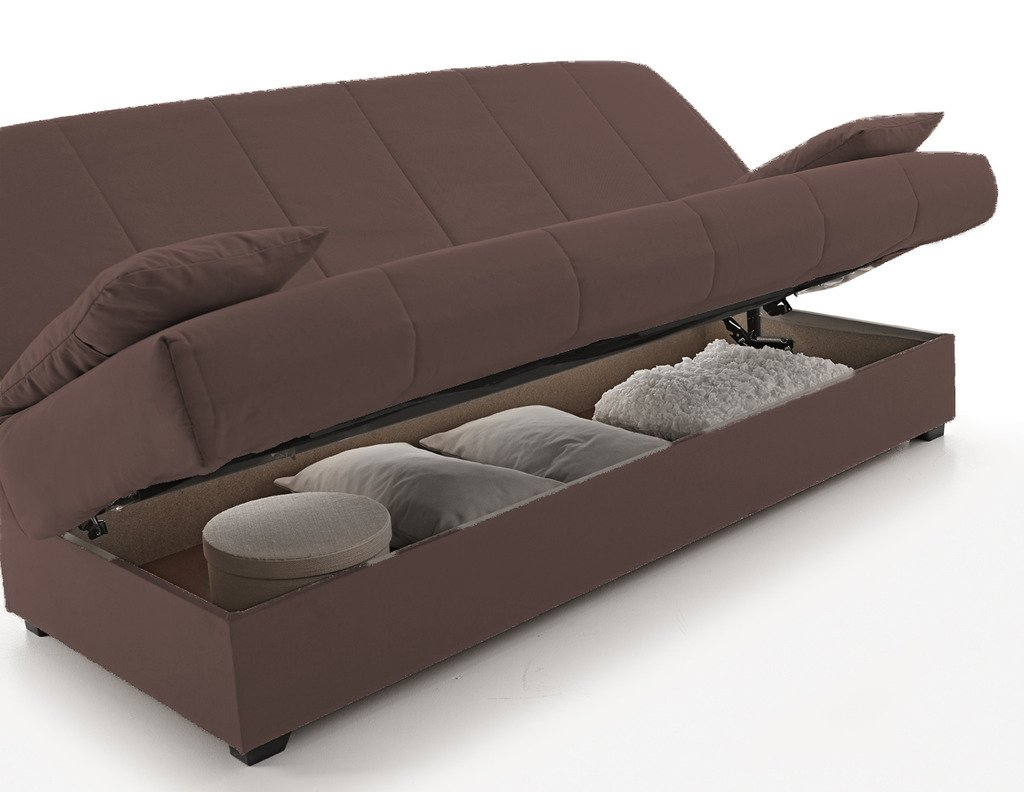 Sofa Cama Clic Clac con Arcón De Almacenaje, Color Chocolate ...