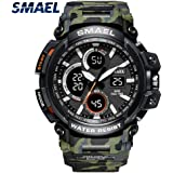 Mens Sports Analog Quartz Watch Dual Display Waterproof Digital Watches with LED Backlight relogio Masculino El