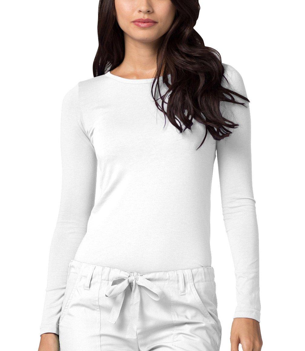 Adar Womens Comfort Long Sleeve T-Shirt Underscrub Tee - 2900 - White - S