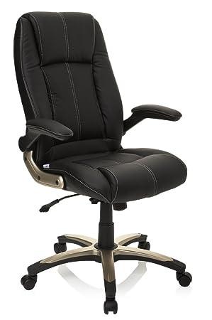 Hjh OFFICE 621600 Chaise De Bureau Fauteuil Direction PALATIN Noir Avec Accoudoirs Escamotables