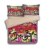 FAITOVE Graffiti Microfiber 3pc 90''x90'' Bedding Quilt Duvet Cover Sets 2 Pillow Cases Queen Size
