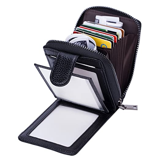 brand new b25bc 3f86a Credit Card Holder Wallet Women Men Genuine Leather SINOKAL Zipper Wallet  with 10 Card Slots