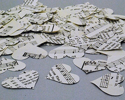 Heart Shaped Vintage Hymn Confetti (200 pieces) - Valentine Christian Wedding Table Scatter, Flower Petals